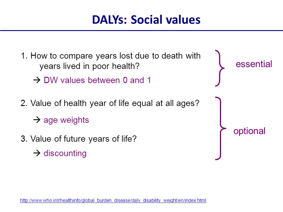 DALYs: Social values essential optional