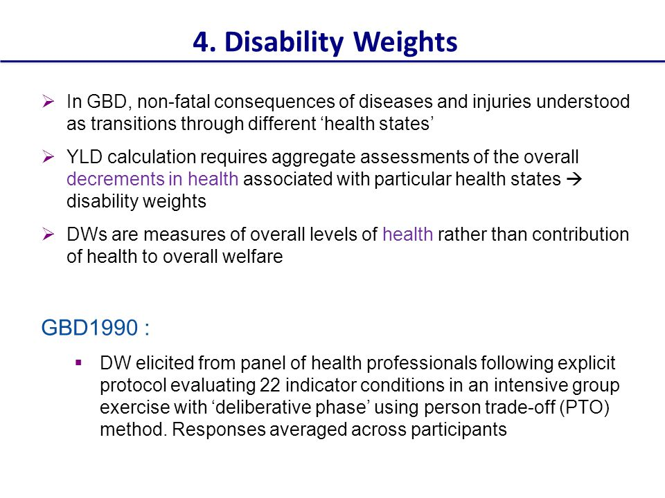 4. Disability Weights GBD1990 :