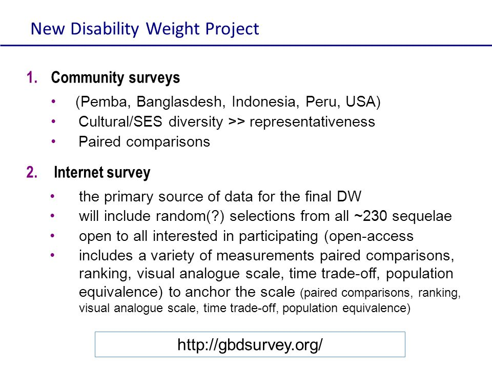 New Disability Weight Project