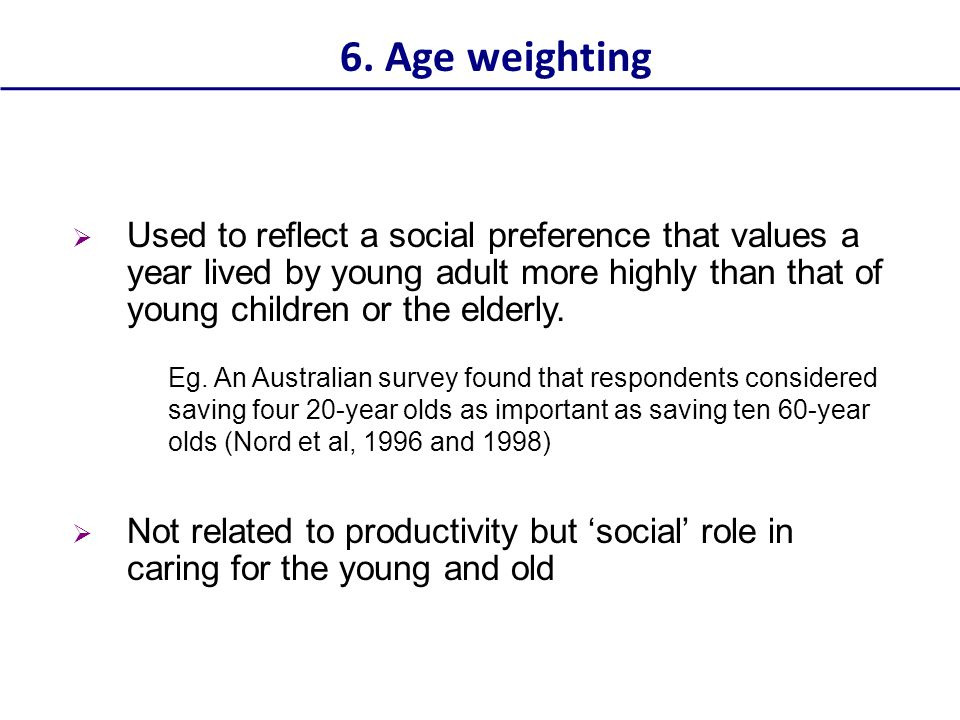 6. Age weighting