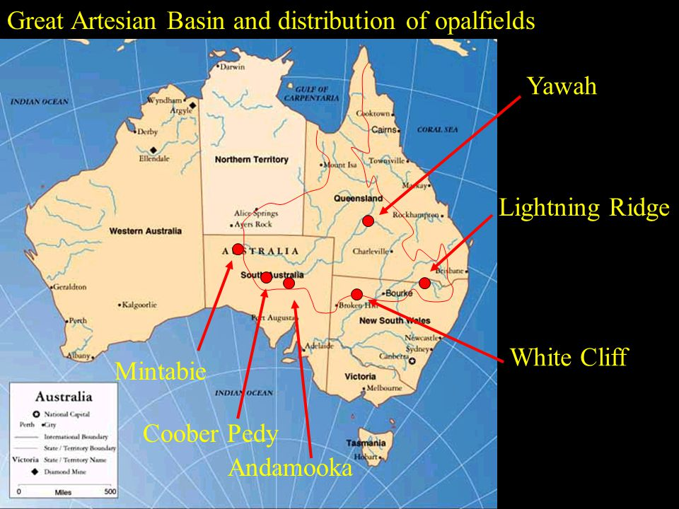 Great Artesian Basin and distribution of opalfields