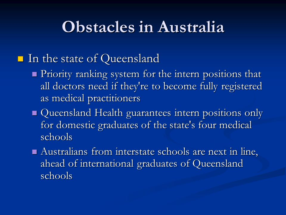 Obstacles in Australia