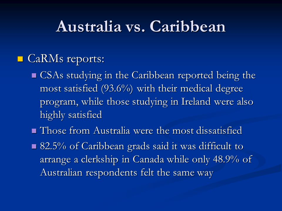 Australia vs. Caribbean