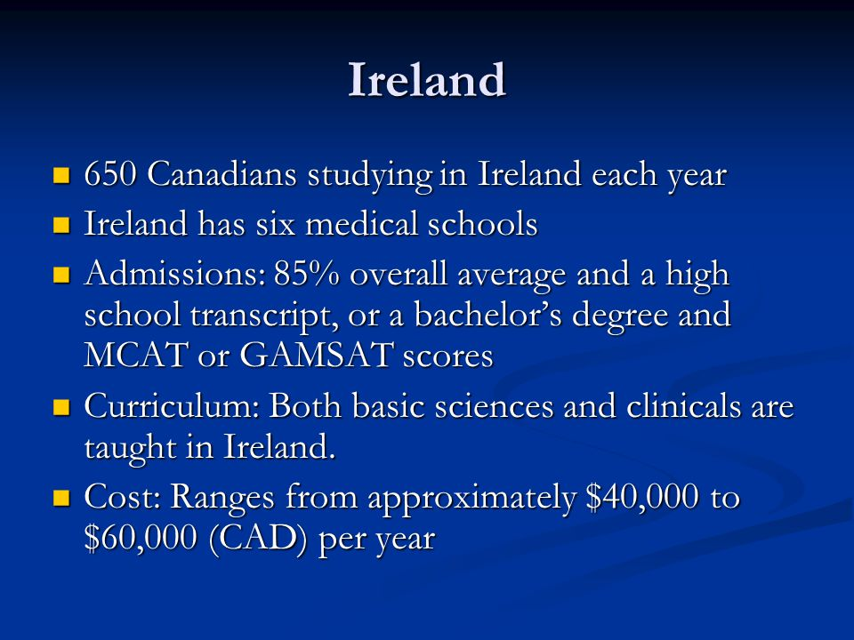 Ireland 650 Canadians studying in Ireland each year