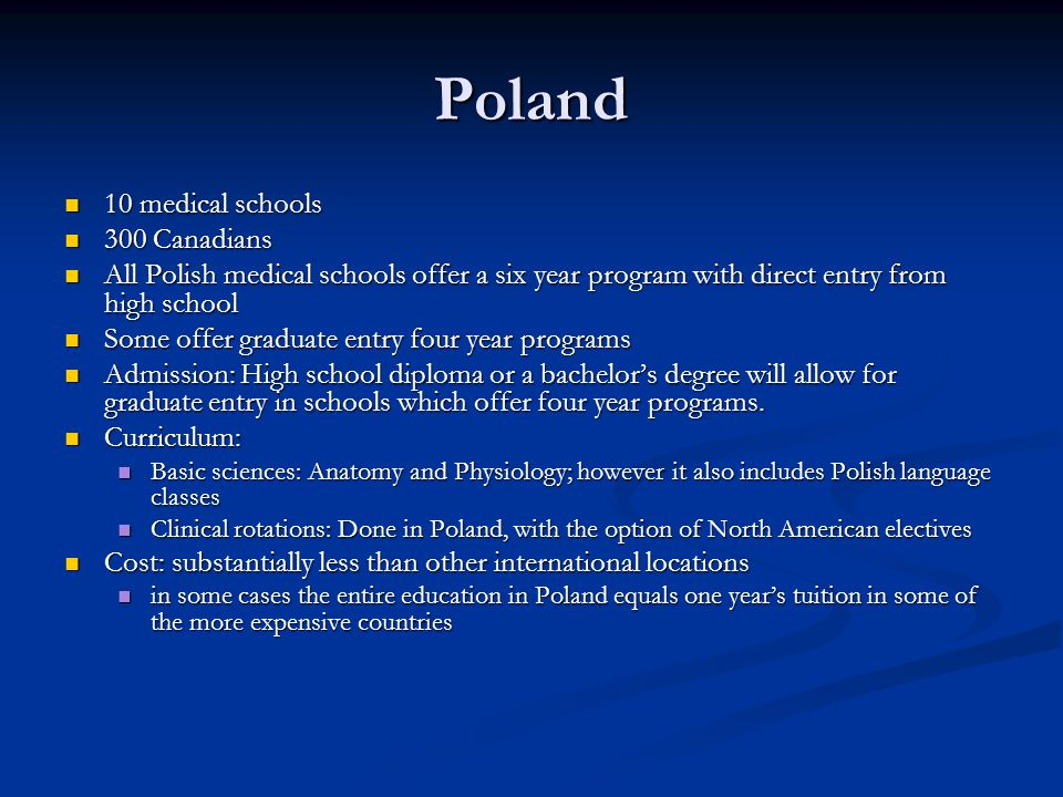 Poland 10 medical schools 300 Canadians