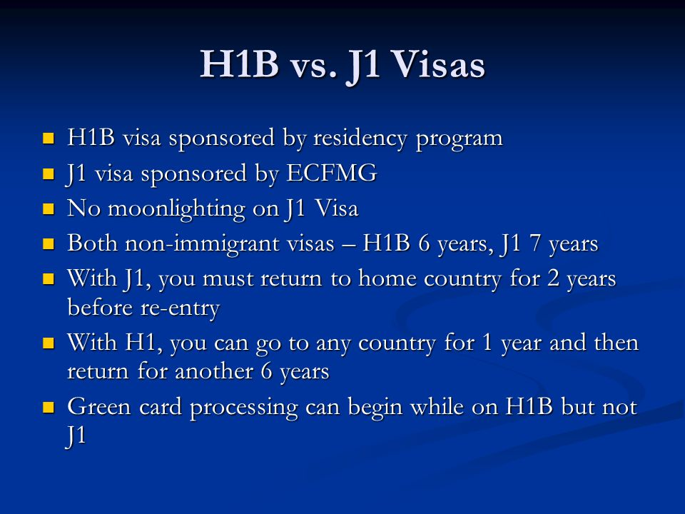H1B vs. J1 Visas H1B visa sponsored by residency program
