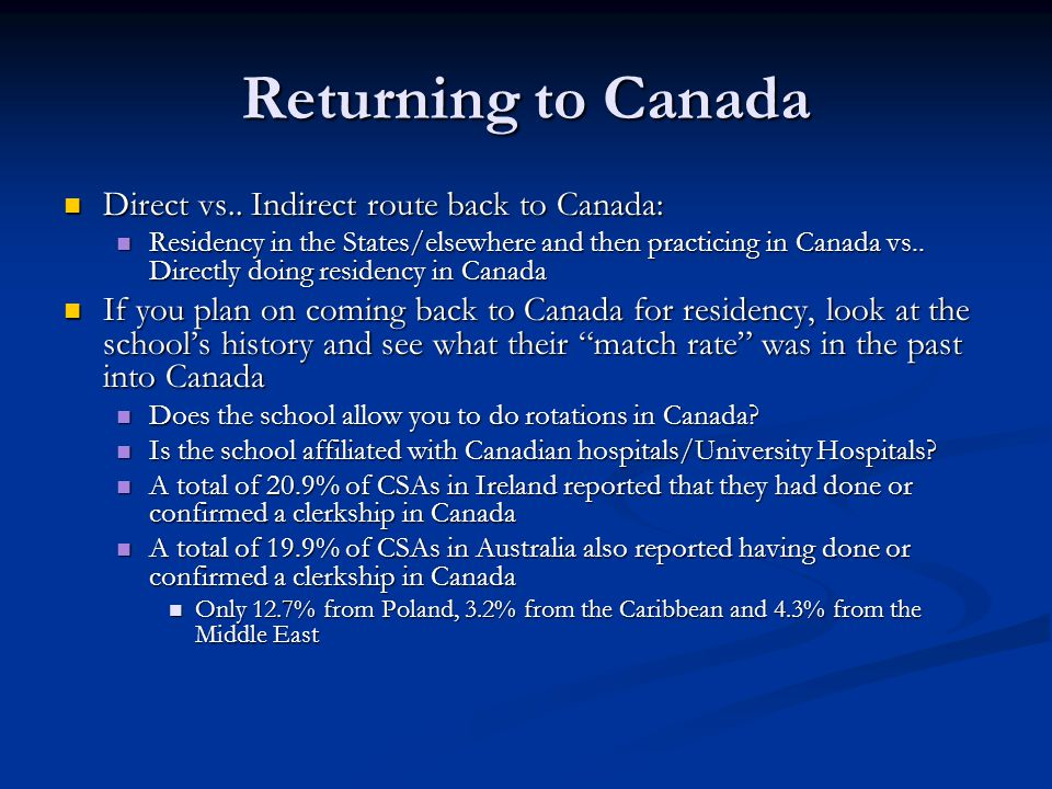 Returning to Canada Direct vs.. Indirect route back to Canada: