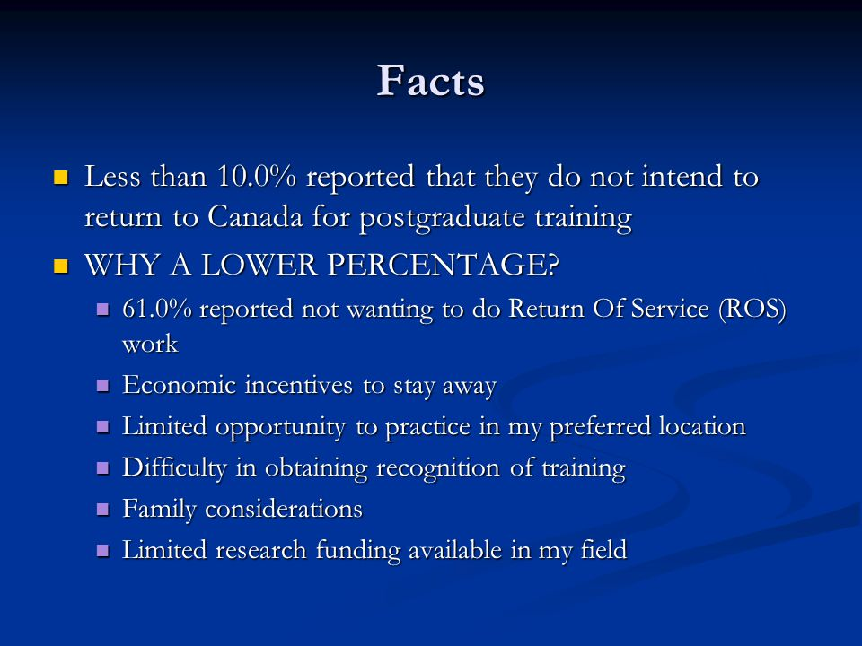 Facts Less than 10.0% reported that they do not intend to return to Canada for postgraduate training.