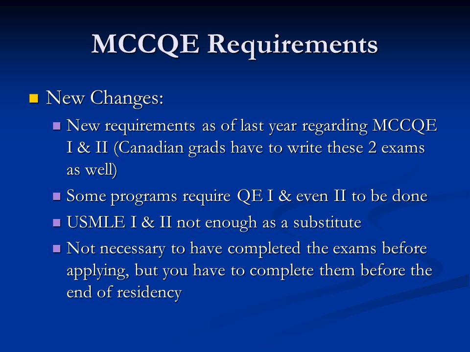 MCCQE Requirements New Changes: