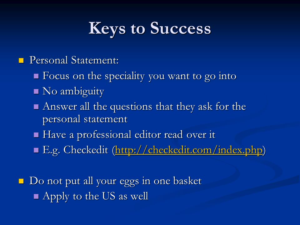 Keys to Success Personal Statement: