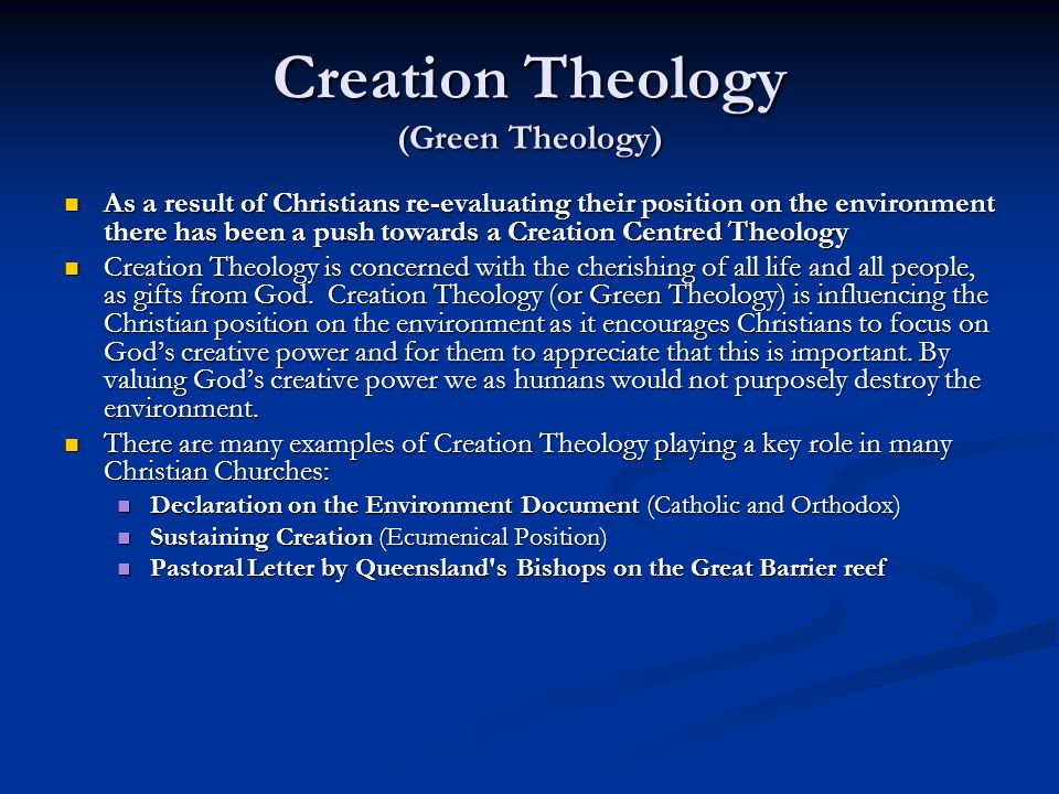 Creation Theology (Green Theology)