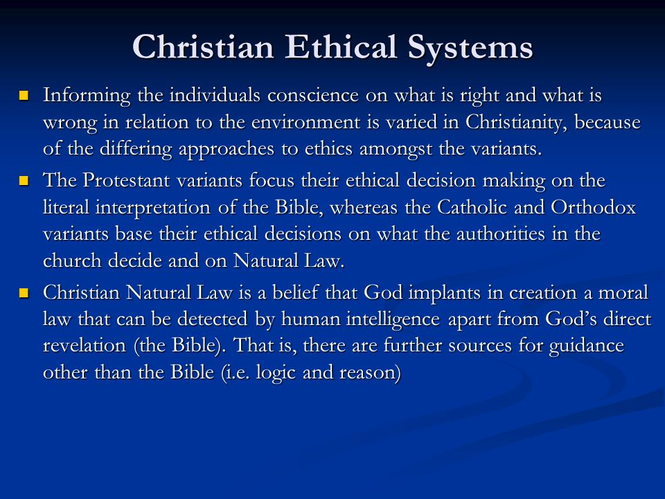 Christian Ethical Systems