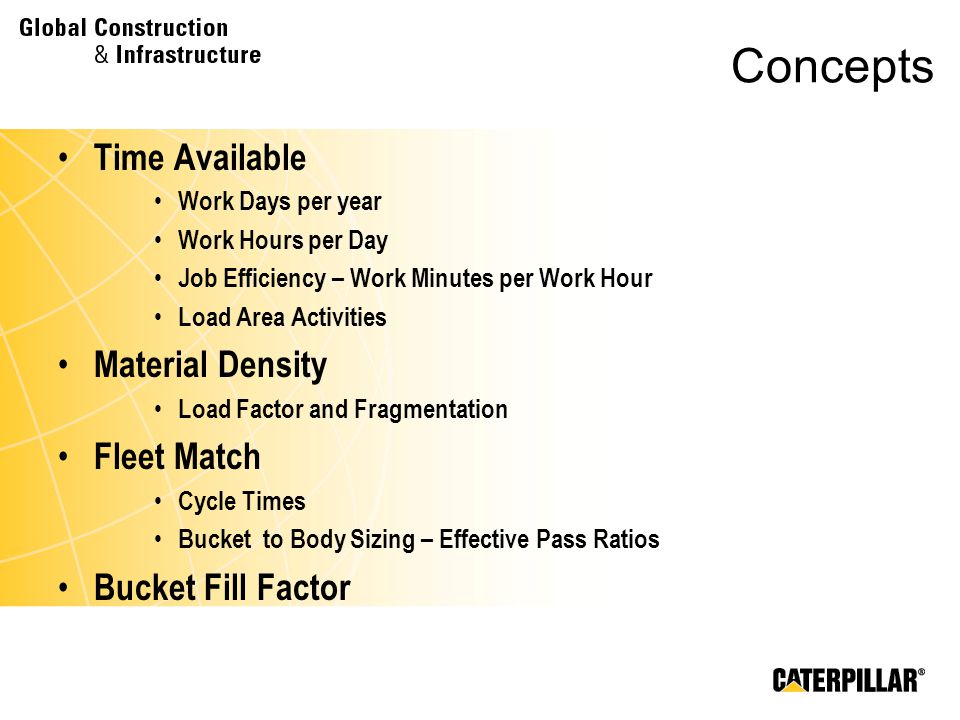 Concepts Time Available Material Density Fleet Match