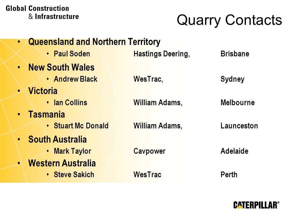 Quarry Contacts Queensland and Northern Territory New South Wales
