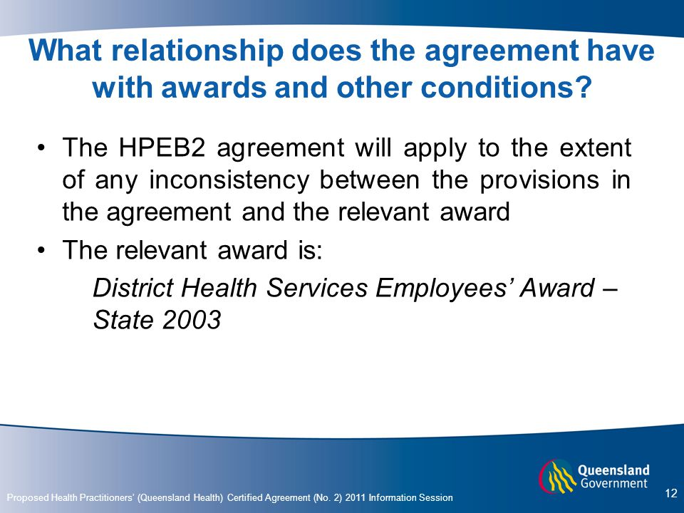 What relationship does the agreement have with awards and other conditions