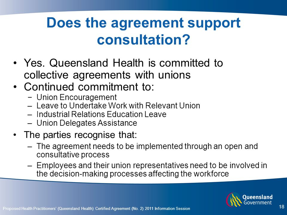 Does the agreement support consultation