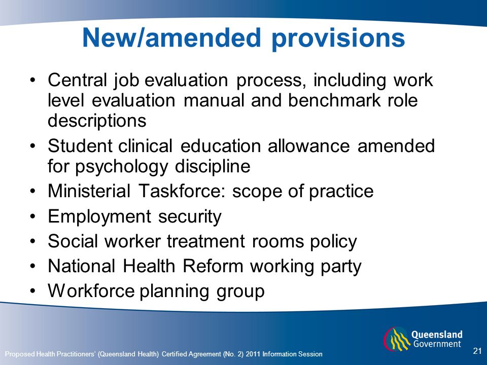 New/amended provisions