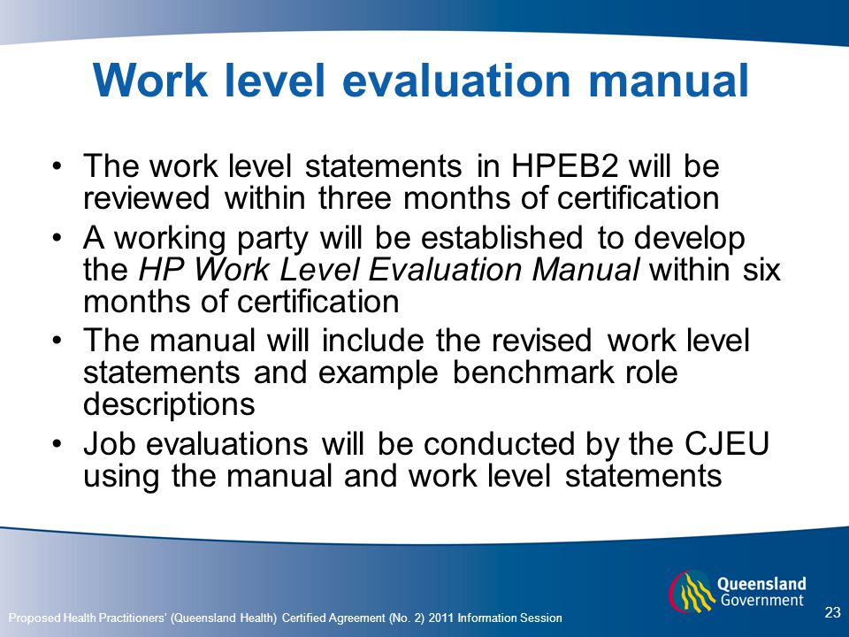 Work level evaluation manual