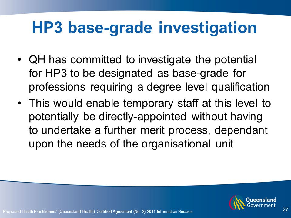 HP3 base-grade investigation
