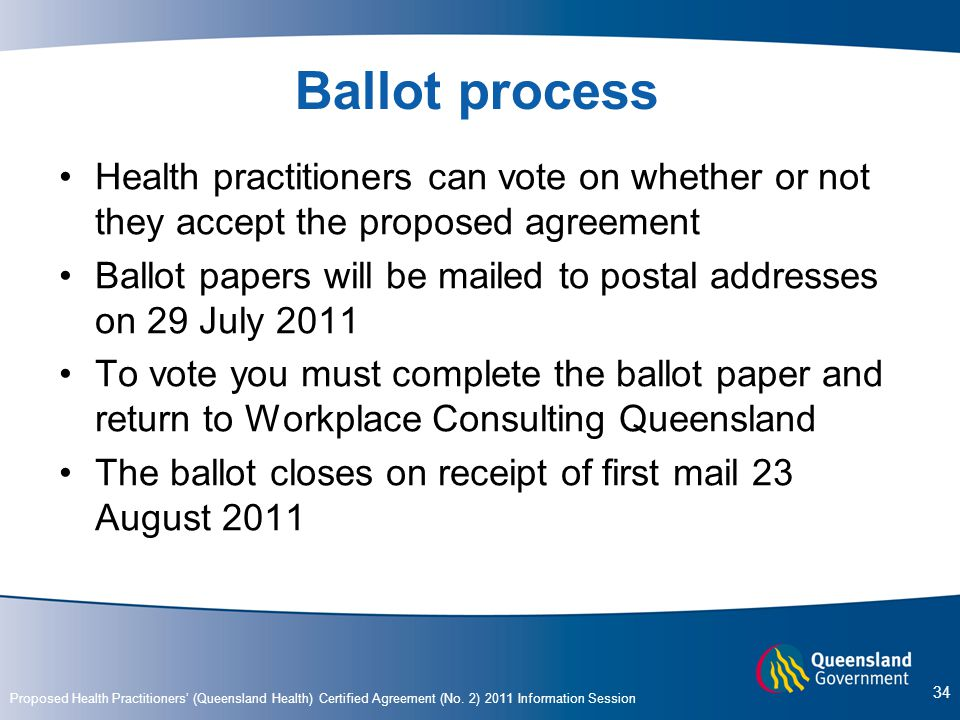 Ballot process Health practitioners can vote on whether or not they accept the proposed agreement.
