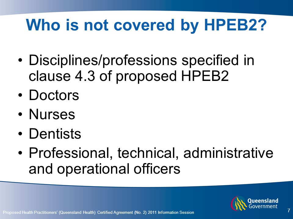 Who is not covered by HPEB2