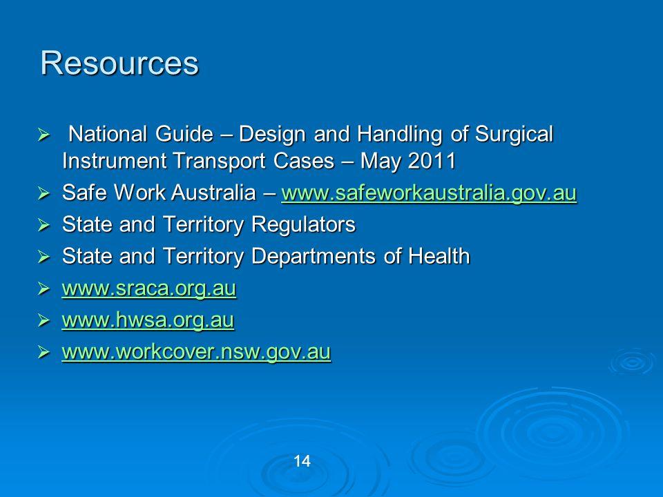 Resources National Guide – Design and Handling of Surgical Instrument Transport Cases – May 2011. Safe Work Australia – www.safeworkaustralia.gov.au.