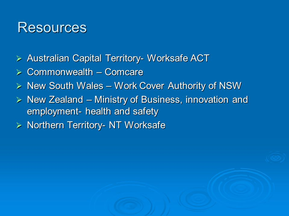 Resources Australian Capital Territory- Worksafe ACT
