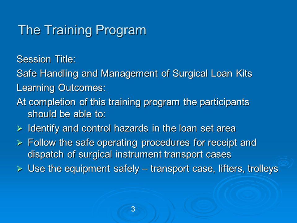 The Training Program Session Title:
