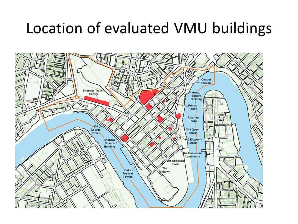 Location of evaluated VMU buildings
