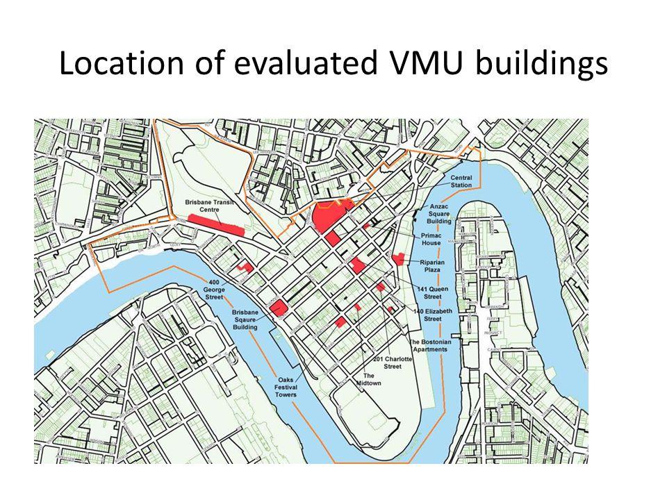 Location of evaluated VMU buildings
