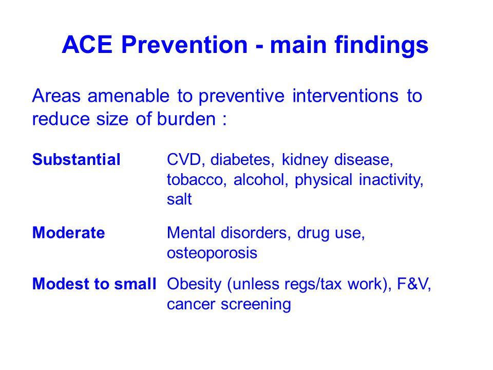 ACE Prevention - main findings