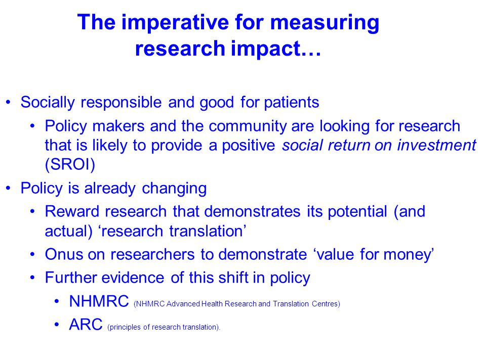The imperative for measuring