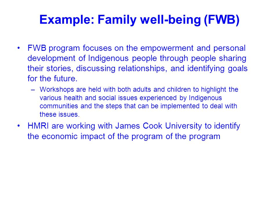 Example: Family well-being (FWB)