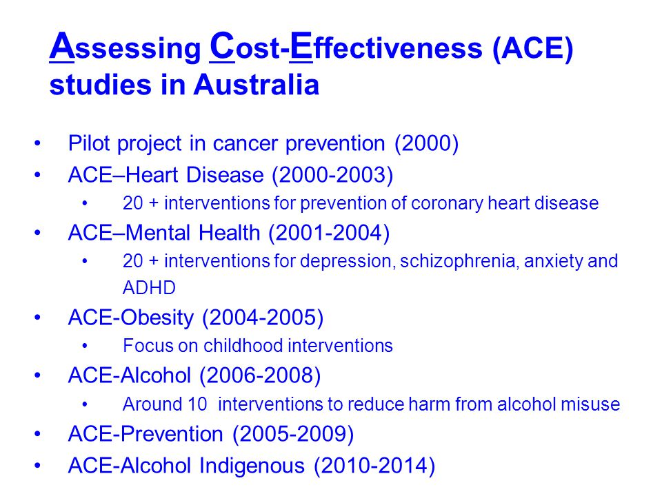 Assessing Cost-Effectiveness (ACE) studies in Australia