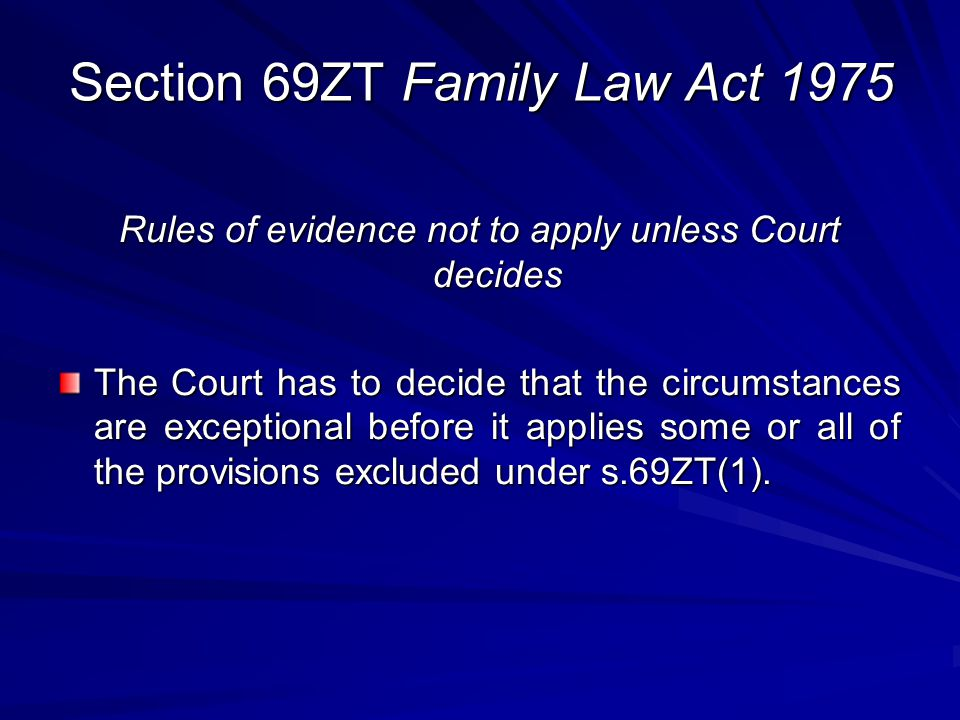 Section 69ZT Family Law Act 1975
