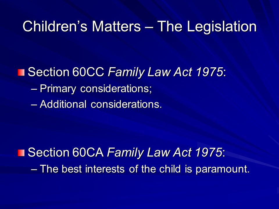 Children's Matters – The Legislation