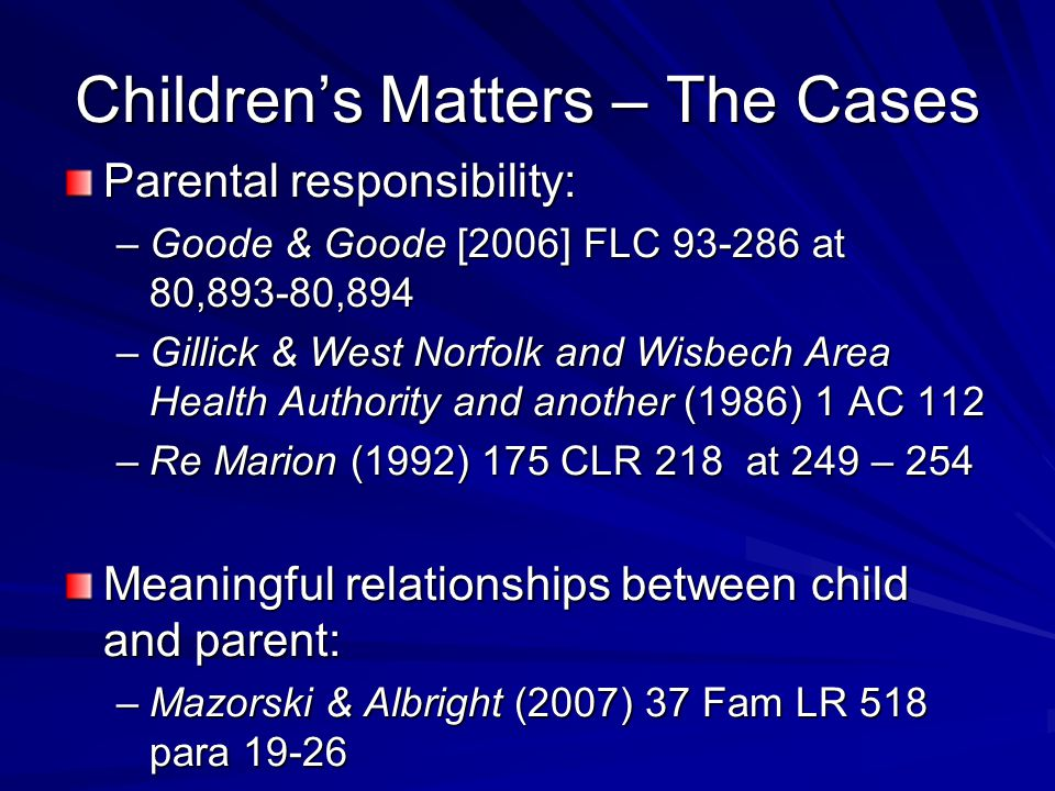 Children's Matters – The Cases