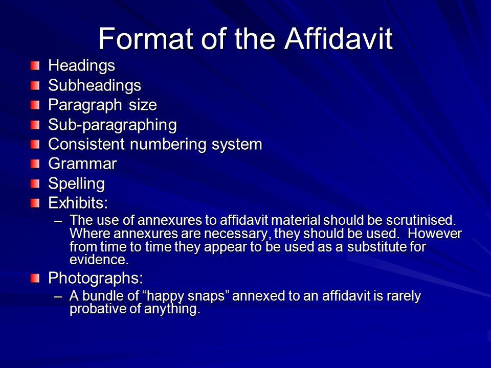 Format of the Affidavit