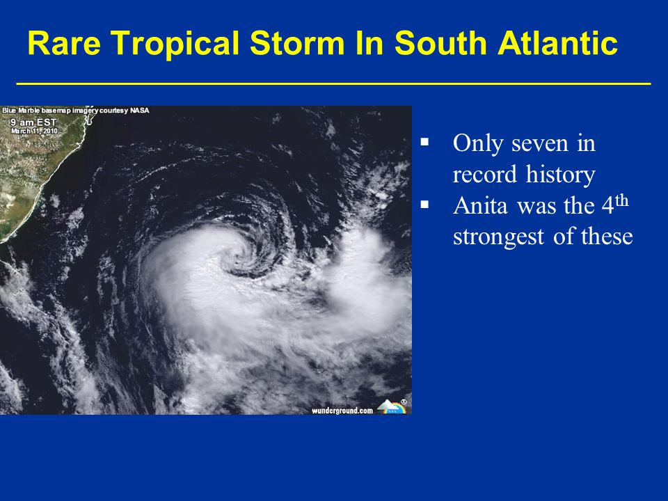 Rare Tropical Storm In South Atlantic