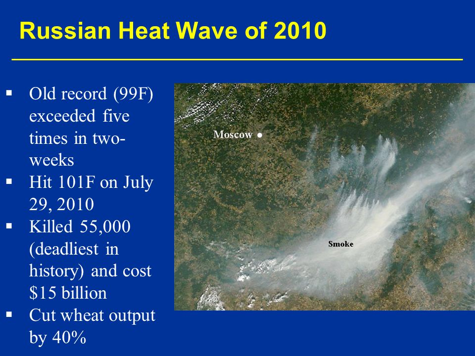 Russian Heat Wave of 2010 Old record (99F) exceeded five times in two-weeks. Hit 101F on July 29, 2010.