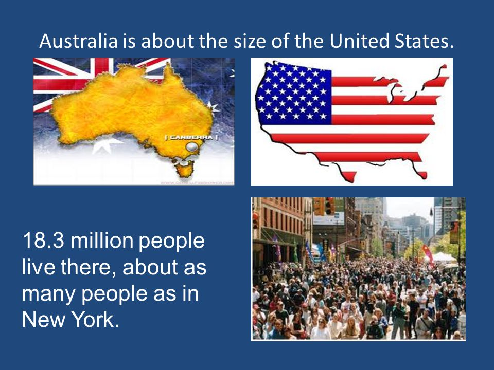 Australia is about the size of the United States.
