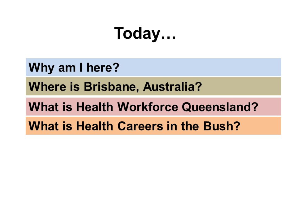 Today… Why am I here Where is Brisbane, Australia