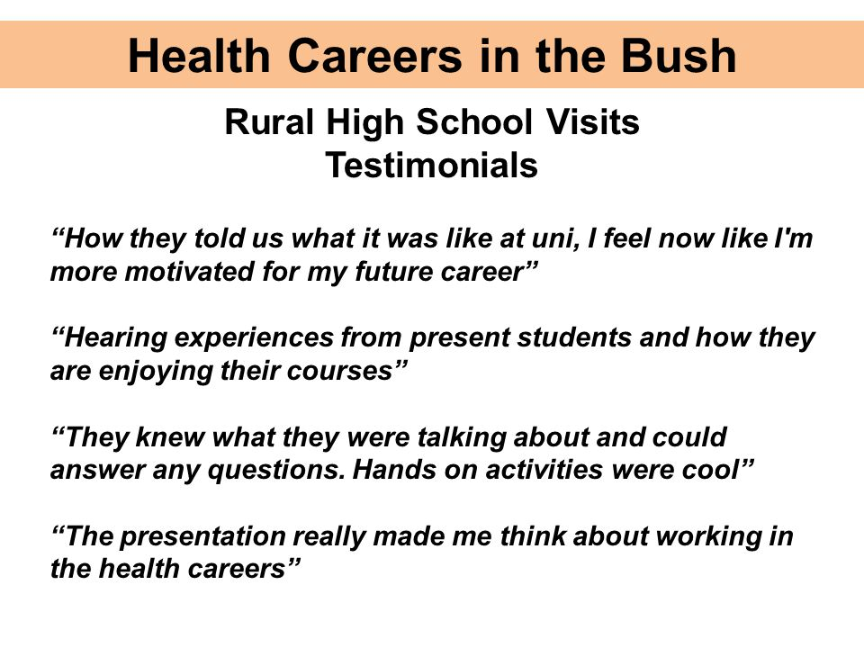Health Careers in the Bush Rural High School Visits