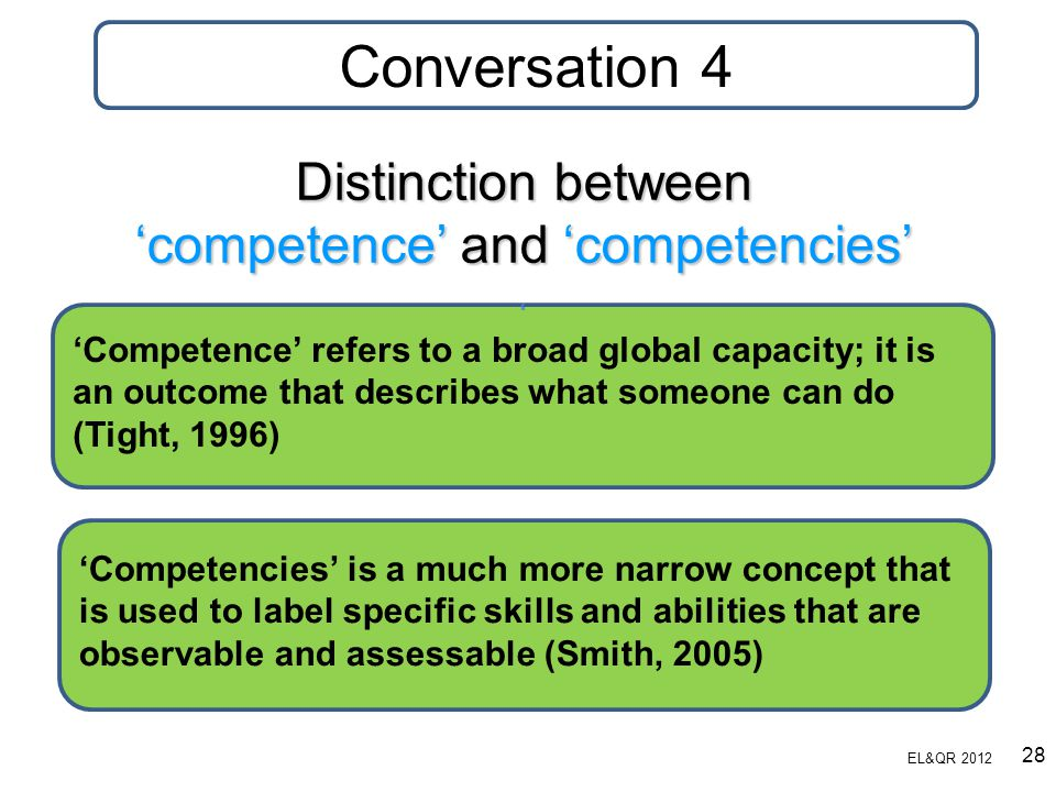Distinction between 'competence' and 'competencies'