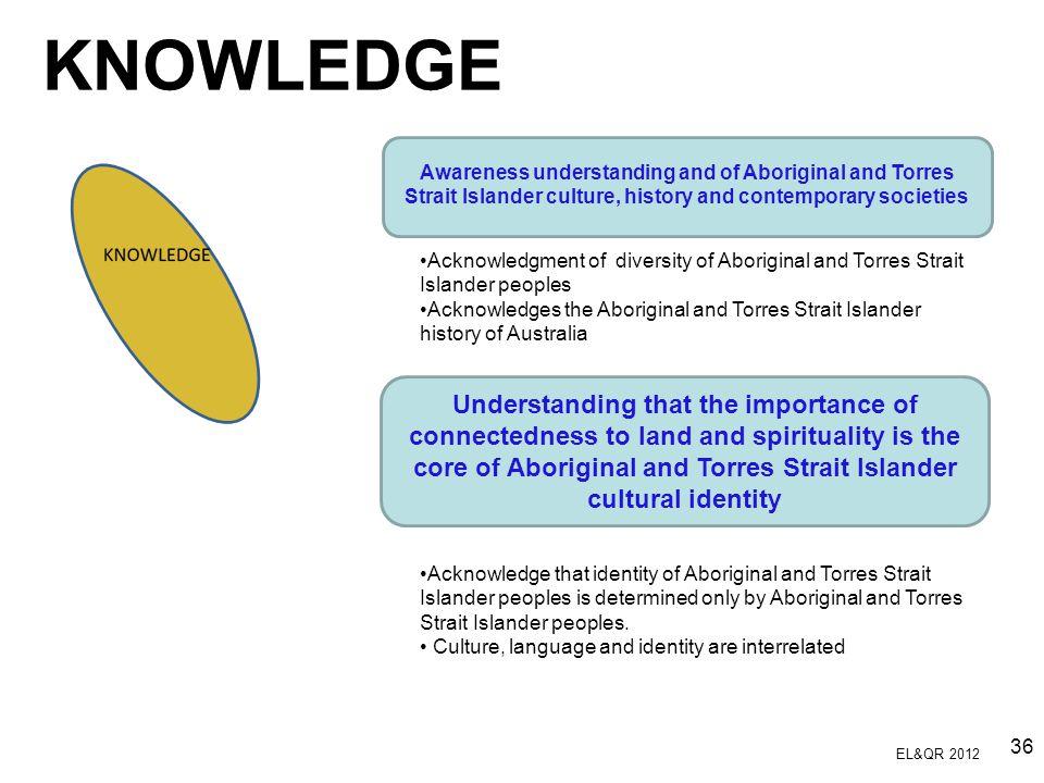 KNOWLEDGE Acknowledgment of diversity of Aboriginal and Torres Strait Islander peoples.