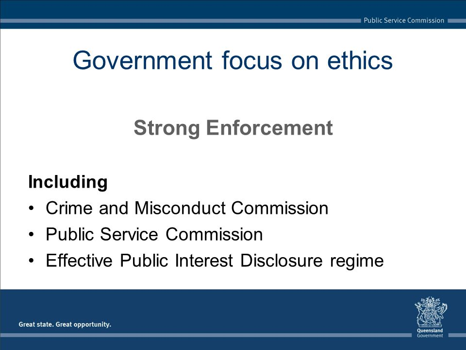 Government focus on ethics