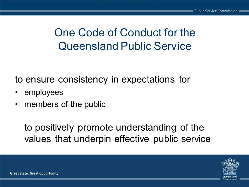 One Code of Conduct for the Queensland Public Service
