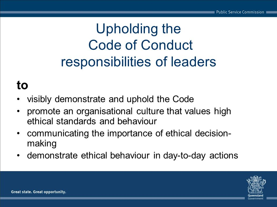 Upholding the Code of Conduct responsibilities of leaders