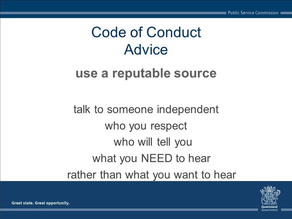 Code of Conduct Advice use a reputable source