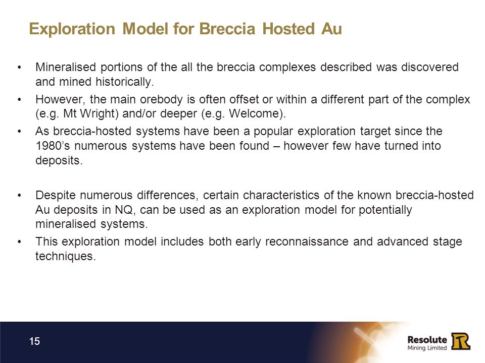 Exploration Model for Breccia Hosted Au